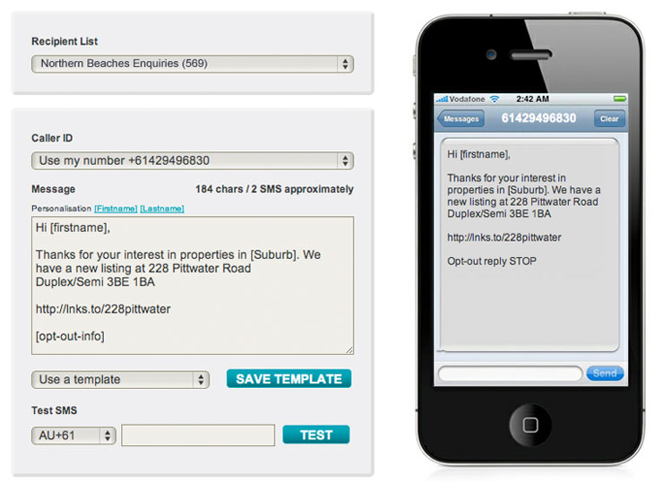 Bulk SMS Messaging For Marketing Interface
